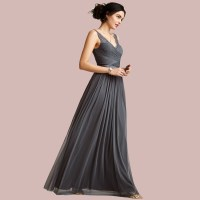Sexy Long Grey Bridesmaid Dresses 2015 New Arrive Lace V ...