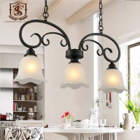 Country Style Dining Room Pendant Lamp Black Wrought Iron ...
