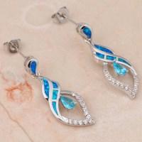 Elegant Blue Opal Drop Earrings