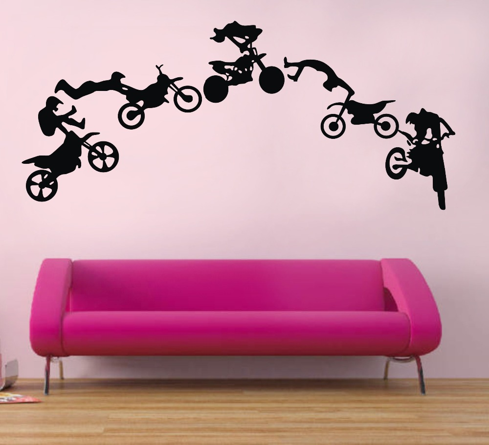 motorcycle stunt wall sticker motorbike poster wall decal creative wall decals vintage bike motorcycle magic wall stickers canada