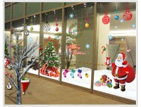 Large glass windows home decoration Christmas Santa and