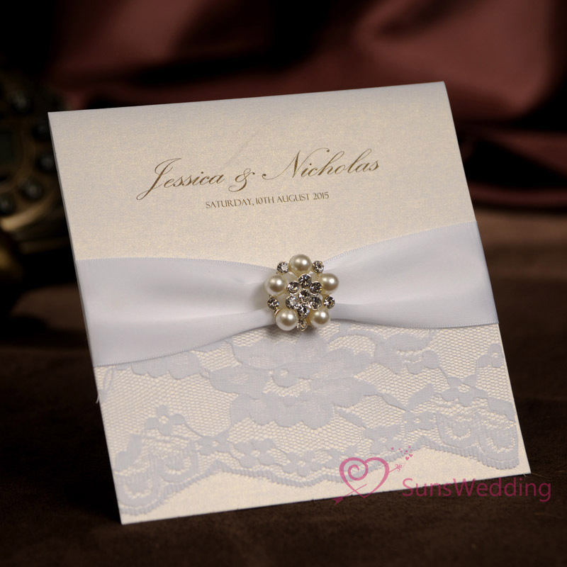 Wholesale White Lace Wedding Invitations With Rhinestone Buckle Free