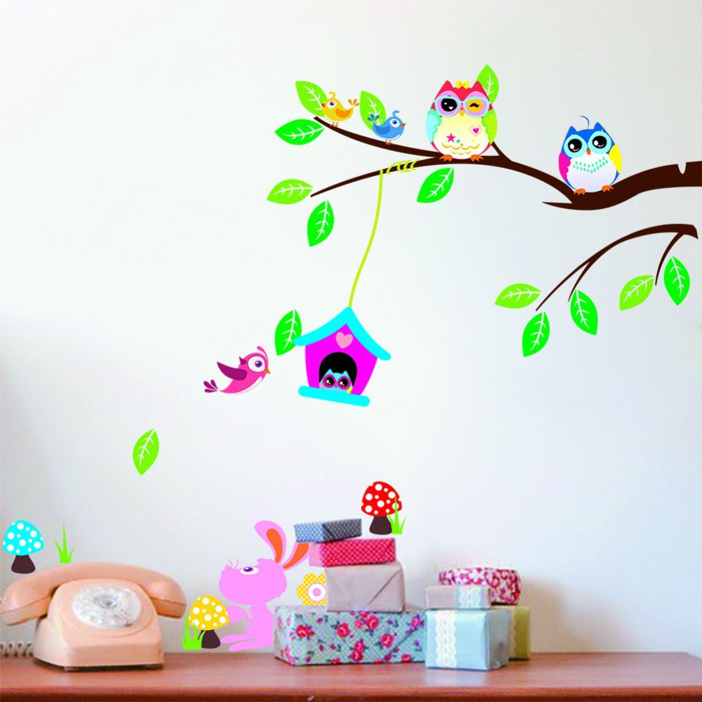 owl tree wall decoration wallpaper wall decals vinyl stickers home wallpaper wall stickers colour options interiorinstyle wall