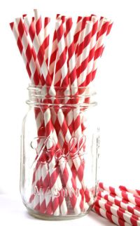 Reusable Replacement Striped Straws ,Candy Apple Red and ...
