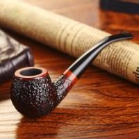 Smoker Briar Wood Smoking Pipe Bent Type Wooden Tobacco ...