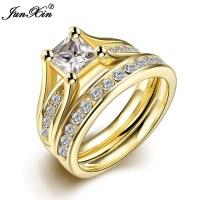 JUNXIN Geometric Design Male Female Yellow Gold Plated ...