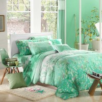 Mint green leaf print bedding sets luxury queen king size ...