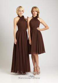 long or short brown chiffon bride's sister dress halter ...