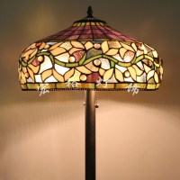 Upscale American Tiffany stained glass floor lamp shade ...