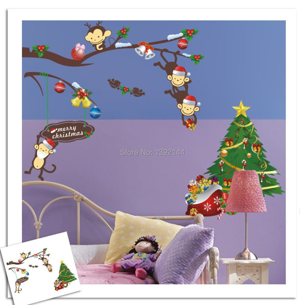 hot sale wall stickers home decoration naughty monkey sale wall sticker commercial window wall stickers christmas
