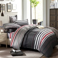 grey and red stripes printing 4pc bedding set queen bed ...