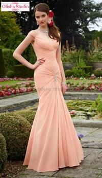 Fashion Design Elegant Cap Sleeve Long Peach Mermaid ...