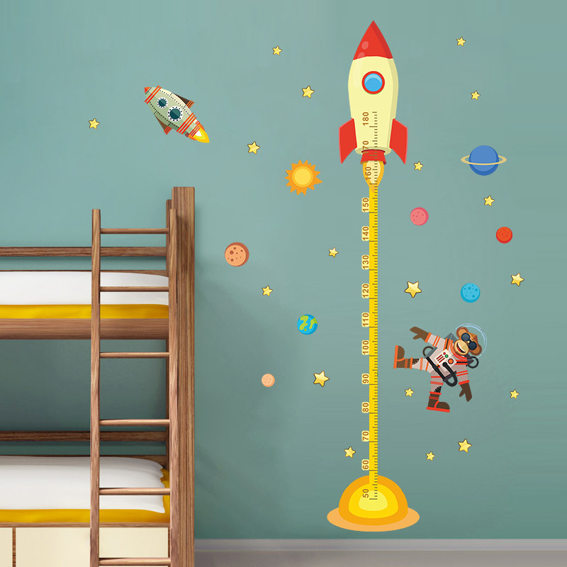 outer space planet monkey pilot rocket home decal height measure wall rocket decals walls rocket stickers rocket wall sticker click