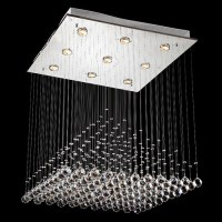 Modern Square Crystal Pendant Lamp Rain Drop Chandelier ...