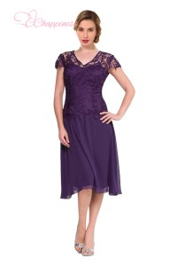 Purple Mother Of The Bride Dresses Tea Length