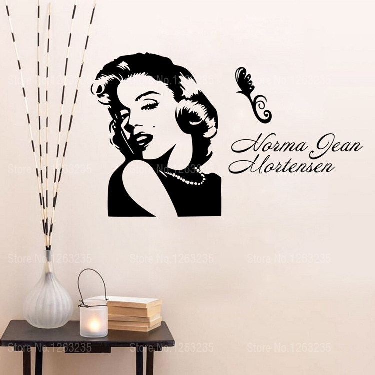 shipping marilyn monroe wall stickers home decor wall decals marilyn monroe wall sticker bright blue pig