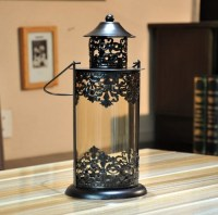 Europe Antique Iron and Glass Handy Candle Holder and Wind ...