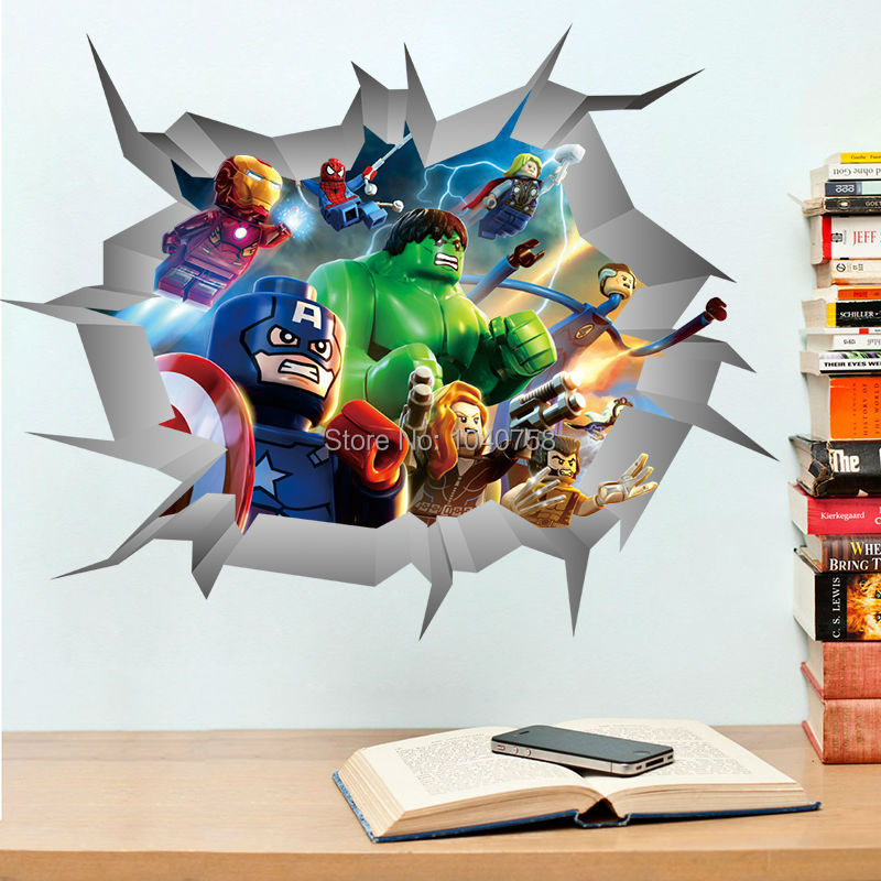 wall stickers lego superheroes home decoration wall lego star wars darth vader wall sticker