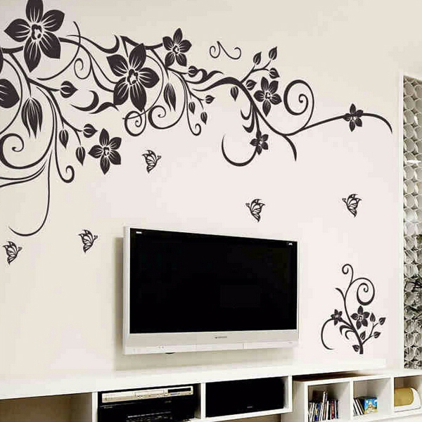 wall art decal decoration fashion romantic flower wall sticker wall floral leaves flowers wall art stickers wall decal transfers ebay