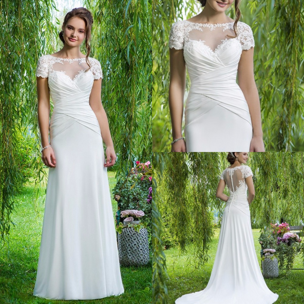 2 short sleeve wedding dress Simple Popular A line Scoop Short Sleeves Floor length Chiffon Cheap Wedding Dress With