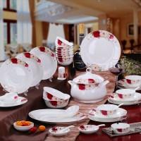 Fashion Red/White Rose Flower Bone China Dinnerware Sets ...