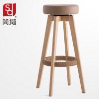 wood bar chairs high foot stool simple fashion bar stool ...
