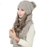 Fashion Winter Hat Scarf Cute Knit Crochet Beanies Cap