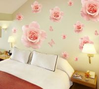 Big Beautiful Rose Wall Stickers Decals Pink Flower ...