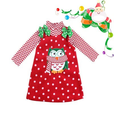 Natal Gadis Lengan Panjang Selamat Natal Gaun Anak Anak Kapas Dot