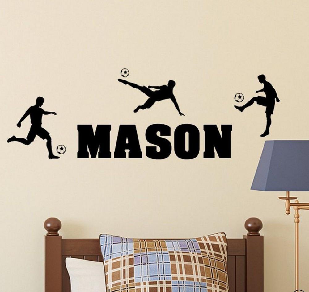 personalized soccer players sport vinyl wall decal wall stickers room bathroom wall stickers personalised wall sticker custom text