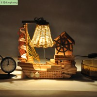 Free shipping Wooden lamps living room bedroom dining ...