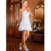 Two In One Short Wedding Dress White Sweetheart Pleats ...