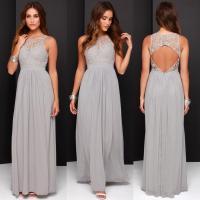 2016 Spring Grey Chiffon Lace Bridesmaid Dresses Long A ...