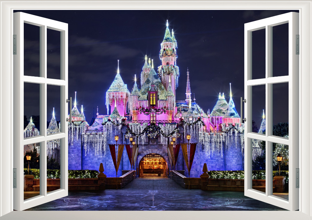 castle window view decal wall sticker home decor wall stickers giant glitter castle wall decal princesses