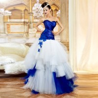 White Wedding Dress With Royal Blue Trim