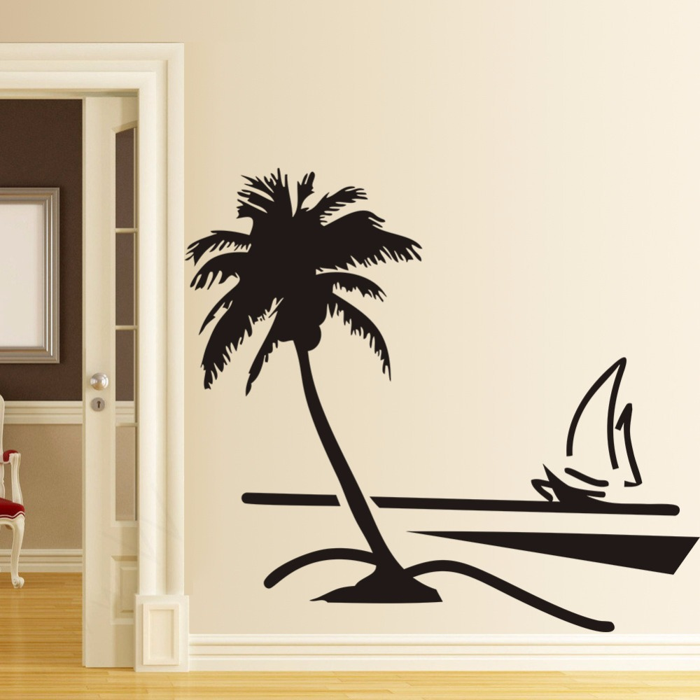 coconut trees sailing living room bedroom childrens room wall stickers kids room wall sticker african wild life kids room wall sticker