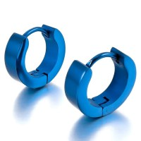 Men's Stainless Steel Round Hoop Earrings Blue Polished ...