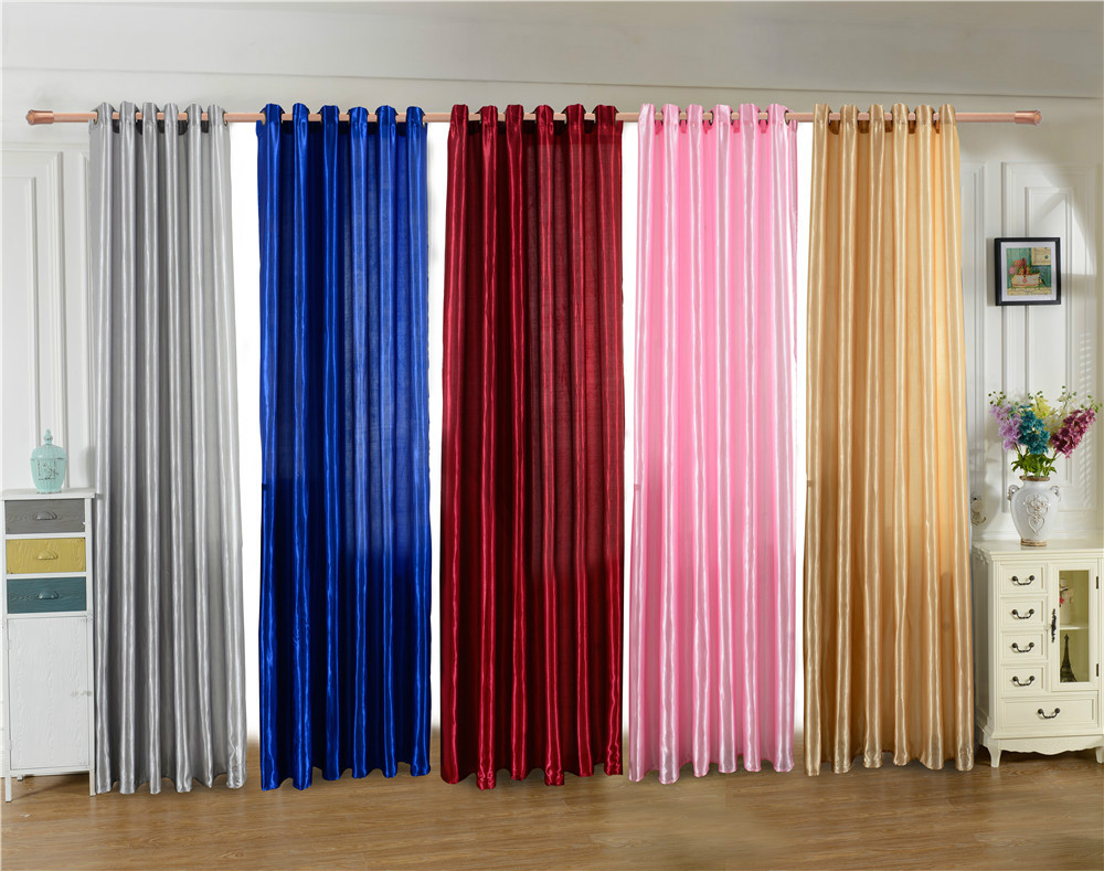 Where Can I Buy Cheap Curtains Us 17 Home Textile Door Bedroom Window Curtain Five Beautiful Satin Fabric Curtain Pure Color Solid Punching Cloth Curtain In Curtains From Home