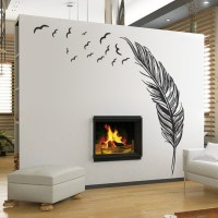 Large Feather Plant Living Room Sticker 3D Wall Stickers ...