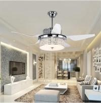 Crystal ceiling chandelier fan modern restaurant household ...