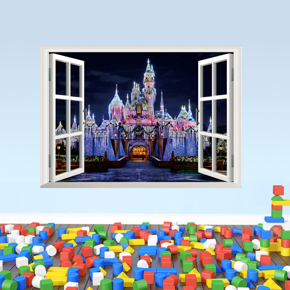 buy exotic beach view window decal castle wall sticker giant glitter castle wall decal princesses