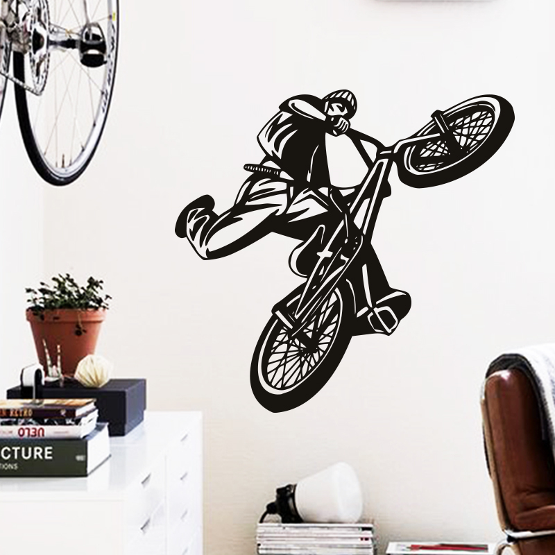 art cheap home decoration beautiful figure bicycle wall sticker vinyl bicycle wall decals bicycle classic basket wall