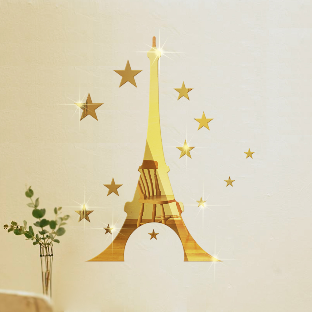 funlife diy eiffel tower stars mirror wall sticker luxury home funlife pc direction vinyl young bedroom art mural wall