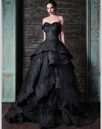 Black Gothic Wedding Dresses Sweetheart Lace Ball Gown ...
