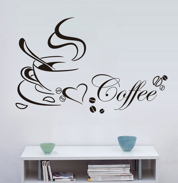 hot sale wall decal diy decoration coffee cup heart wall sticker home sale wall sticker commercial window wall stickers christmas