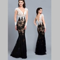 Long Evening Dresses Black And White - Plus Size Prom Dresses