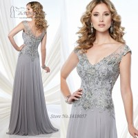 Silver Grey Mother of the Bride Lace Dresses V Neck Back ...
