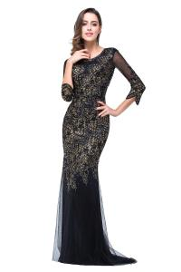 The gallery for --> Long Black Prom Dresses With Sleeves