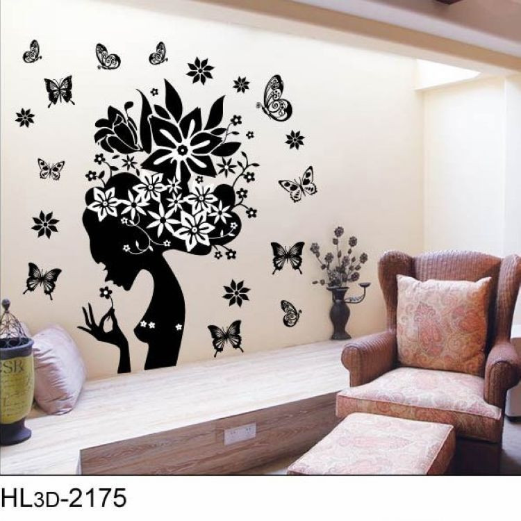 black butterfly fairy girl wall sticker home decoration wall black butterfly wall decals beautiful vinyl butterfly wall allpiques