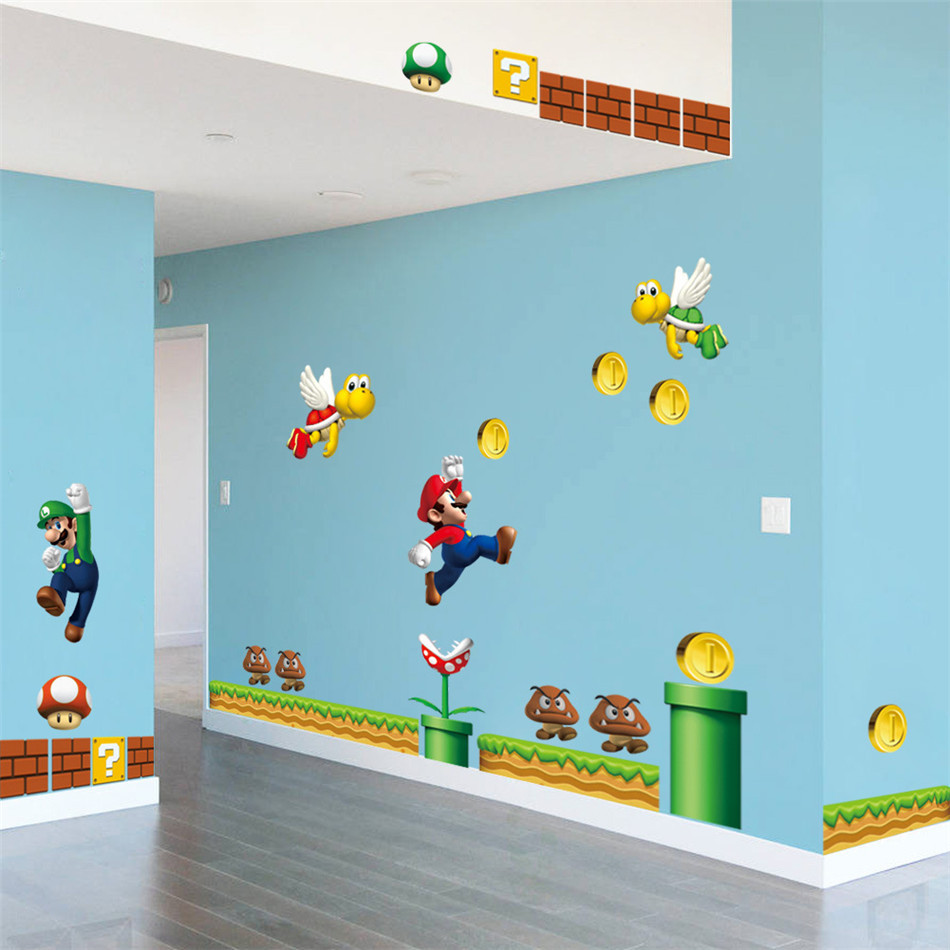video game super mario diy wall stickers adhesive removable home super mario bros wii wall stickers stickers wall